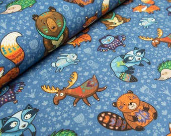 Woodland animals french terry knit fabric