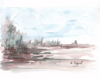 Purple landscape - original watercolor painting