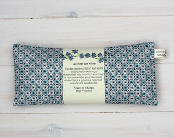 Lavender eye bag with slip-cover, Yoga and mindfulness lavender eye pillow, Turquoise lavender eye pillow for relaxation, yoga for men