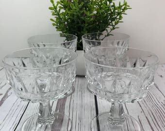 Arcoroc France Glass Footed Dessert Footed Cups Diamond Cut Pattern