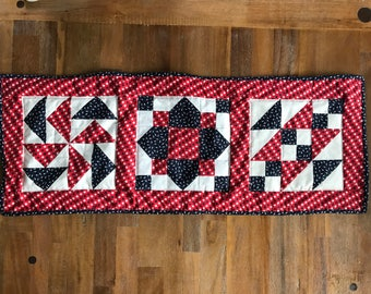 """Americana Table Runner, Quilted Table Runner, 13"""" x 36"""""""
