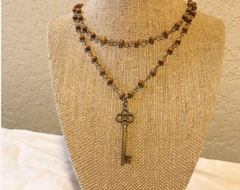 Skeleton key double choker / beaded chain layered rosary necklace with skeleton key charm
