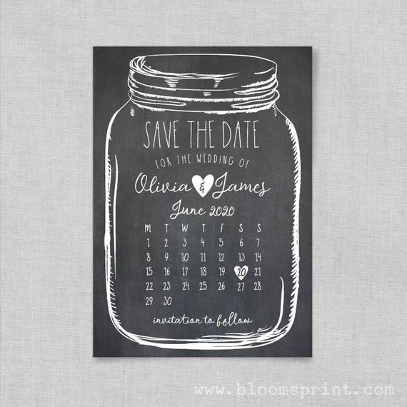 Mason jar save the date magnets, Wedding Save-the-date, Rustic save the date magnets, Calendar save the date cards, Save the date template