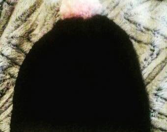 Black and pink pompom beanie, slouchy banie, pompom hat, handmade pompom, crochet hat, crochet beanie