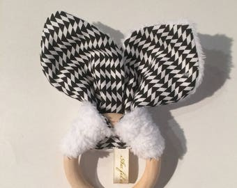 Rattle / Teether with bunny ears wooden black and white. French manufacturing
