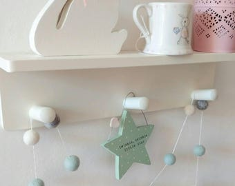 mint home decor, grey and white feltball garland, nursery decor,  girls bedroom decoration, pastel, gift, pompom, bunting. Window decoration