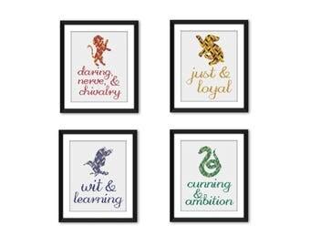PDF - Set of 4 Hogwarts House Descriptions Harry Potter Cross Stitch