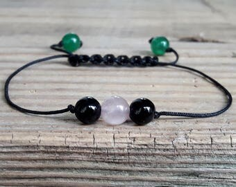 Balance bracelet rose quartz jade black agate healing crystal bracelet protection bracelet chakra bracelet meditation yoga jewelry gift idea