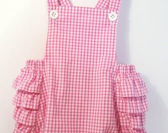 Baby girl romper * Vintage inspired * Pink gingham *Handmade in England *