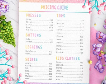 Minimal Lula Price List, Pricing Guide, Clean and Modern, Large Poster 18x24