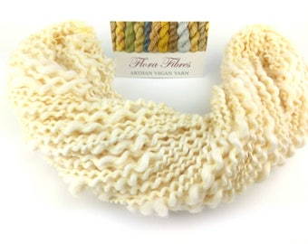 Hand spun undyed vegan Egyptian cotton, spiral plied, thick and thin art yarn, for knitting, crochet, weaving, crafts UK
