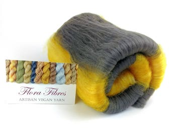 """Bamboo and carbonised bamboo fibres, naturally dyed batt for spinning, vegan, """"Bumble Bee"""" for hand spinning, UK"""