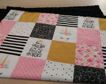 Designer Minky Blanket - Designer Be A Unicorn