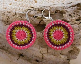 Crochet pattern hypnosis green, pink, purple earrings