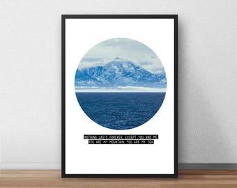 Biffy Mountains Lyrics Print, Geometric, Vector, Nature, Band, Song Lyrics, Illustrated, Poster, Gift,  Present