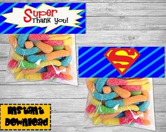 Superman Decoration - Superman Birthday- Superman Party- Superman Birthday supplies  Superman Birthday decoration-  Superman treat bag