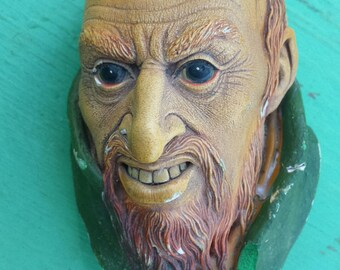 Vintage 1964 Bossons FAGIN Chalkware Head Sculpture Wall Plaque 1960s Bossons Congleton England Head, Retro Folk Decor