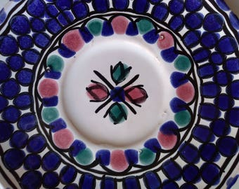 Blue Ceramic plate - handmade - Ceramic Nabeul zaghba - Tunisia