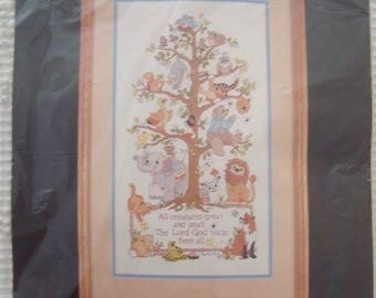 "NIP Vintage 1990 BUCILLA Crewel Embroidery Picture Kit #40497 ""Tree of Life"" 10"" x 18""  All Creatures Great & Small"