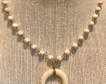 White Crescent Moon Necklace