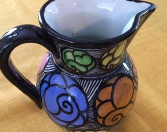 Vintage Mid Century Modern Made/marked Spain pottery art Pitcher/blur/orange/yellow/pink/black