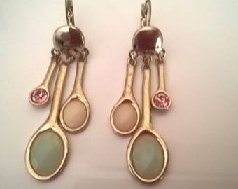 Earrings vintage gold tone retro
