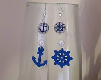 Earrings, sailor, marine, 12 mm cabochon