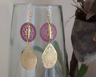 Pink and gold filigree earrings
