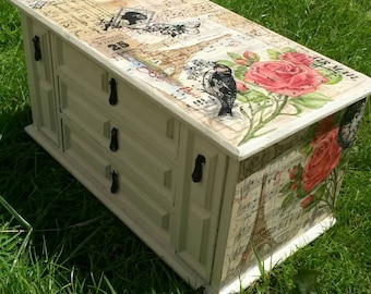 Large vintage jewellery box mini chest drawers Art deco french Paris hand decorated with decoupage and vintage music paper shabby chic cream