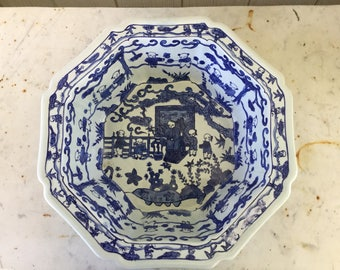 Large Asian Blue & White Octagonal Bowl *Rare Size*