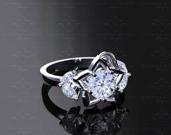 Destiny Inspired Kingdom Hearts 10k, 14k, 18k White/Yellow/Rose Gold Engagement Ring