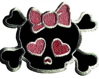 Patch/bow-Skull emo girly-pink-7.5 x 7.5 cm-by catch-the-Patch ® patch appliqué applications for ironing application patches patch