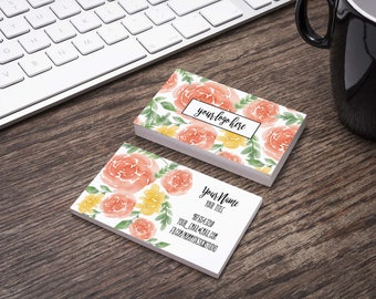 Water Color Floral Rose Business Card - Customizable for your business - any logo - bundles available - dainty business Loyalty card
