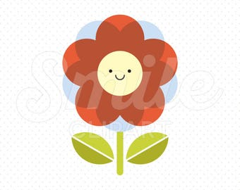 HAPPY RED FLOWER Clipart Illustration for Commercial Use | 0028