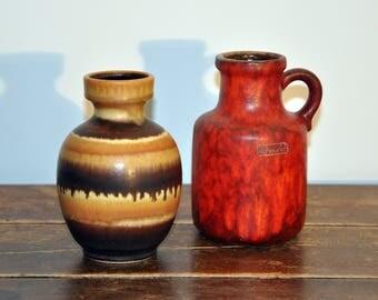 2 Fat Lava Pottery vases, West-Germany Scheurich Keramik and Dümler & Expand