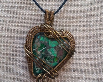 Wire Wrapped Unique Green Heart Sea Sediment Pendant Necklace Copper Wire Gift