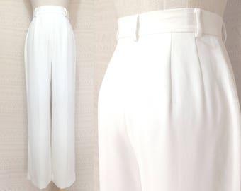 "White trousers XS / S ""Tilda"" vintage high waisted trousers, white pants, elegant wide leg pants, plain pants, us size 4 6, 80s clothing"