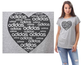 LOVE ADIDAS T Shirt Grey Black Tee 90s Sports Activewear  Hipster Retro Vintage Normcore Men Women Medium Large