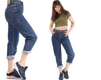 Mom Levis Jeans 80s Tapered Loose Fit Levis Jeans 501 90s Denim High Waist Pants Button Fly Trousers Classic Vintage Waist W28 L32 Medium
