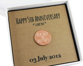Personalised Happy 5th Anniversary Keepsake Gift, Lucky Penny Gift