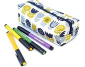 Boxy pencil case, make-up pouch, zipper pouch, useful little bag, school supplies, back to school, student gift,  gift for tween, floral bag