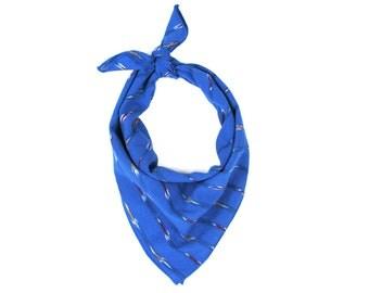 Cobalt Blue Ikat Pattern Bandana // Scarf // Wrap // Headband // Neckerchief // Neck Tie