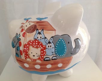 Personalized Large Piggy bank Noah's Ark- Baby's 1st Christmas, Christening, Baptism, Birthday, Newborn Gift