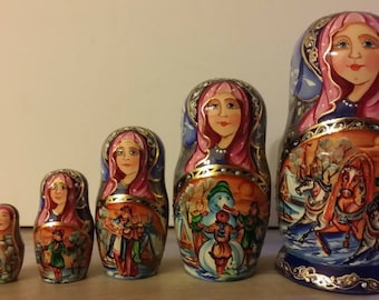 Russian doll, doll trundle nesting dolls 5 pieces