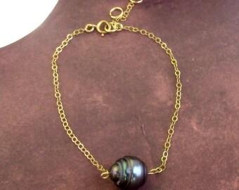 Tahitian pearl bracelet, chain plaqued gold Treasure Islands Tahitian pearl 109.8