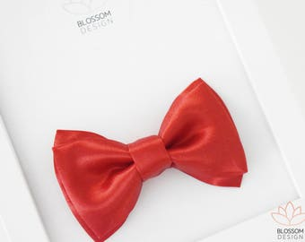 Red Satin Bow Tie, Red Clip On Bow Tie, Boys Photo Prop, Red Wedding Bow Tie, Red Ring Bearer Bow Tie, Red Baby Bow Tie, Red Toddler Bow Tie