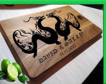 Personalized Cutting Board, DRAGON Cutting Board Personalized, Bride and Groom, Wedding Dragon  Cutting Board, Custom Wedding Gift L2-03-007
