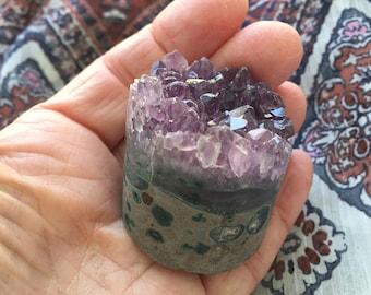 Amethyst Druzy Tower Cluster/ Amethyst  Crystal Cluster Cylinder/ Amethyst Flat Base Cluster Tower/ Amethyst Geode/Purple Crystal CY155