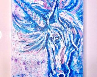 Acrylic & Glitter on canvas. Unikorn 30 x 40 cm