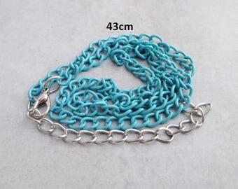 1 x 43cm Blue metal chain necklace